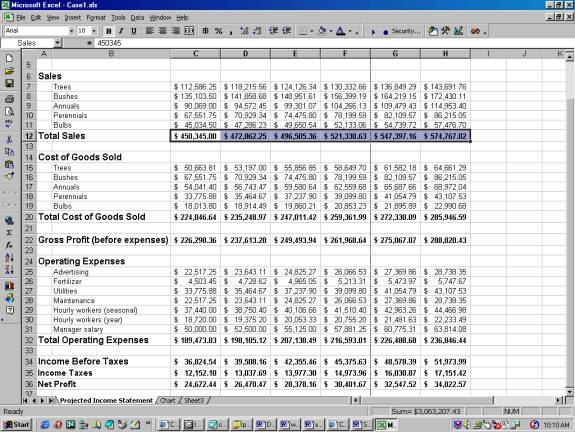 excel spreadsheet assignment